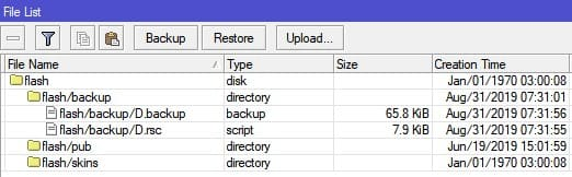 MikroTik Backup скрипт, исчезают папки после перезагрузки