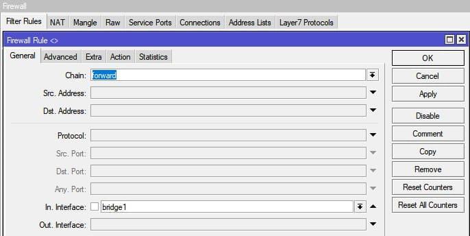 Настройка Firewall в MikroTik, разрешения для LAN
