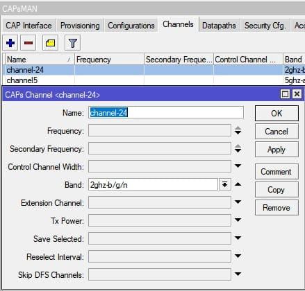 Настройка MikroTik CapsMan WiFi, настройка Channels 2,4ГГц