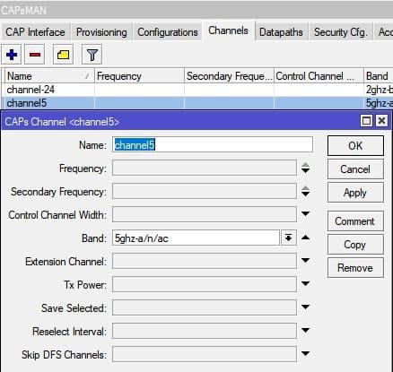 Настройка MikroTik CapsMan WiFi, настройка Channels 5ГГц