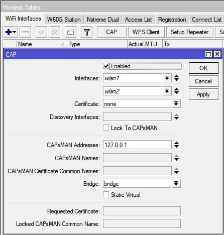 Настройка MikroTik CapsMan WiFi, настройка точки доступа