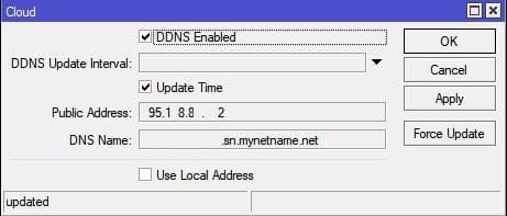 Настройка MikroTik Cloud, собственный DDNS
