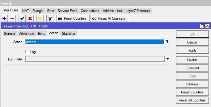 Настройка MikroTik VPN сервер L2TP, добавление правила FireWall Accept