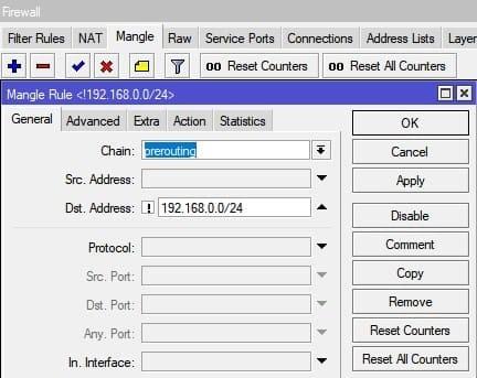 Настройка нескольких провайдеров на MikroTik, маркировка пакета prerouting
