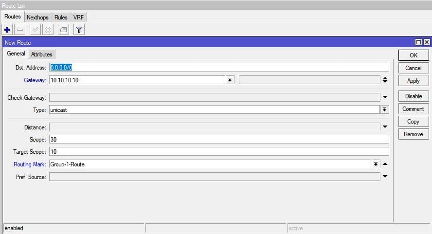Настройка нескольких провайдеров на MikroTik, статический маршрут провайдера 1