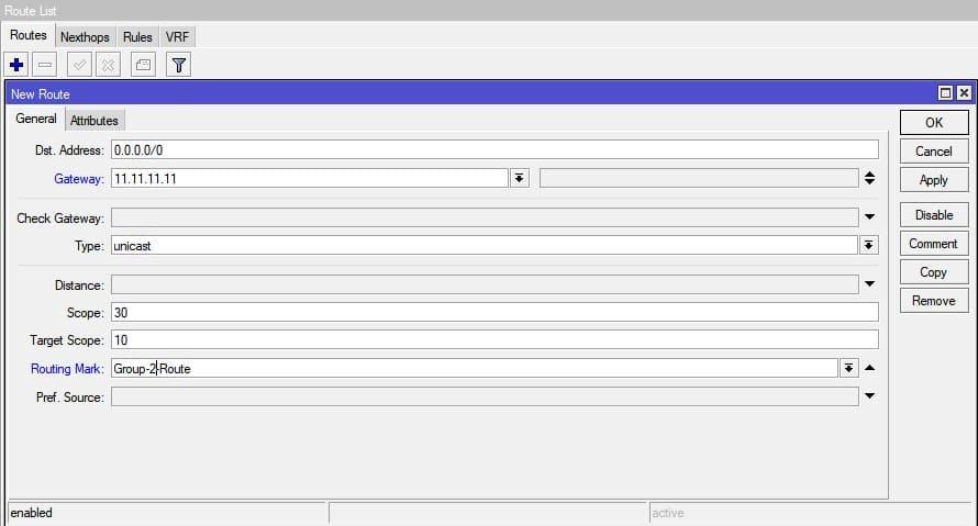 Настройка нескольких провайдеров на MikroTik, статический маршрут провайдера 2
